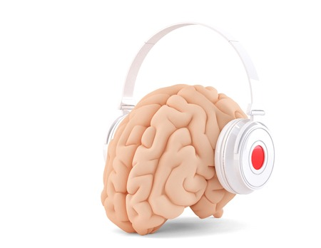 earphones: Brain with headphones. Isolated. Cotains clipping path