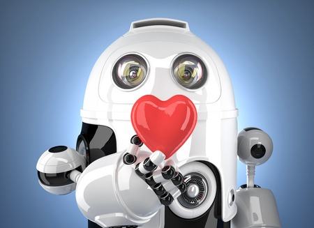 futurictic: Robot with heart in hand. Technology concept. Contains clipping path.