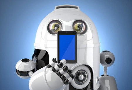 android tablet: Robot with mobile phone. Contains clipping path Stock Photo