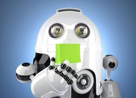 Android-Roboter mit Einkaufstasche. Enthält Clipping-Pfad