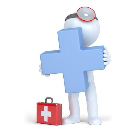 3 d 医師は青い十字を保持しています。分離されました。クリッピング パスが含まれています