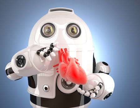intervention: Robot with human heart in the hands. Technology concept. Contains clipping path. Stock Photo