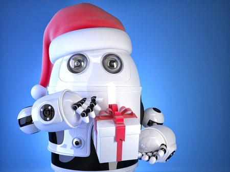 Robot Santa with christmas gift box. Christmas concept. Contains clipping path photo
