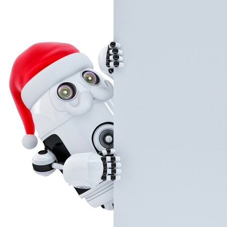 Robot Santa pointing at white banner. Isolated over white. Contains clipping path photo