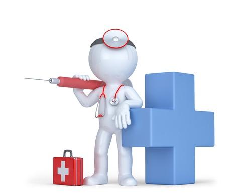 vacunación: 3d doctor con una jeringa y un estetoscopio. Aislado en blanco. Contiene trazado de recorte