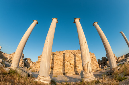statute: Ruins of Ancient Salamis. Famagusta District, Cyprus Stock Photo