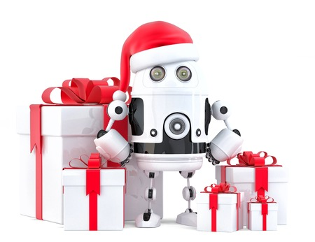 droid: Robot Santa with gift boxes. Christmas concept. Isolated, contains clipping path Stock Photo