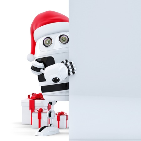 3d Robot Claus holding blank banner photo