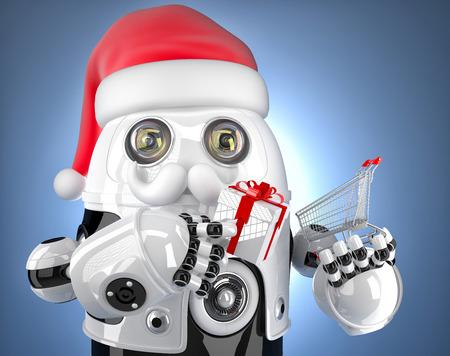 Robot Santa holding a shopping cart. Christmas concept. Contains clipping path photo
