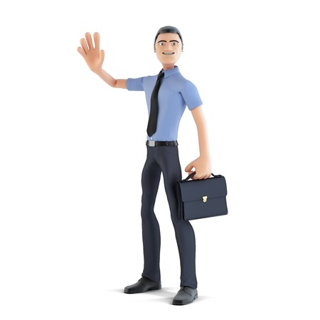 waving hand: Happy 3d businessman waving hand and smiling. Isolated on white. Contains clipping path Stock Photo