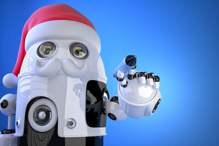 writes: Robot Santa writes something with a pen. Contains clipping path