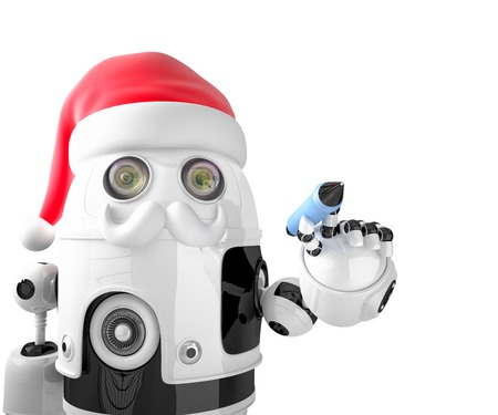 droid: Robot Santa Claus holding a pen. Isolated. Contains clipping path Stock Photo
