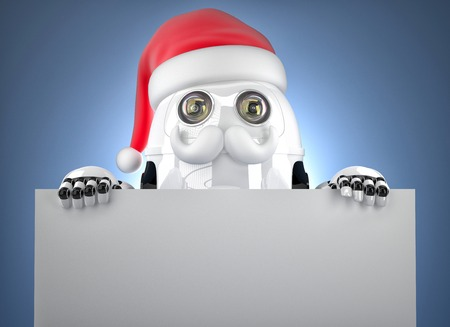 3d Robot Santa showing blank banner. Christmas concept. Contains clipping path photo