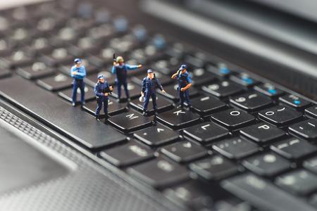 コンピューター犯罪の概念。マクロ写真