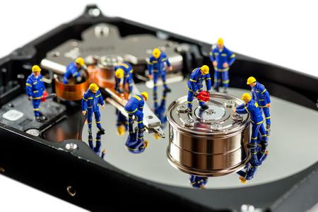 Hard disk repair concept. Macro photo Archivio Fotografico
