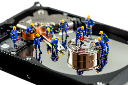 Hard disk repair concept. Macro photo 版權商用圖片