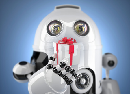 Robot holding gift box. 3d render with DOF effect. Technology concept photo