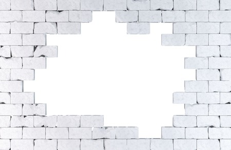 大きな穴をレンガの壁。