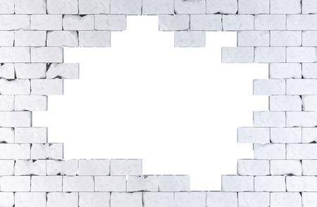 Bakstenen muur met een groot gat.