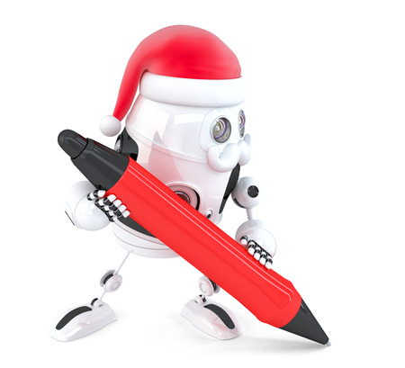Robot Santa writes something with a pen. Isolated on white.  photo