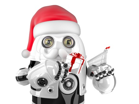 Robot Santa with shopping cart and gift box. Isolated on white.  photo