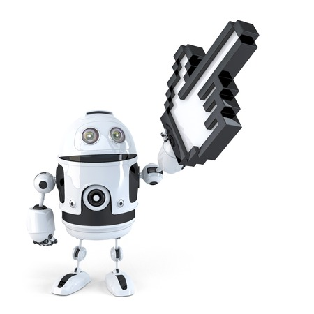 Robot pointing with huge cursor. Isolated. Contains clipping path photo