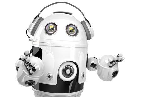 robot: Robot de Apoyo con el auricular. Concepto de la tecnología. Aislados. Contiene trazado de recorte.