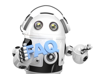 Robot holding FAQs sign. Isolated on white. Contains clipping path photo