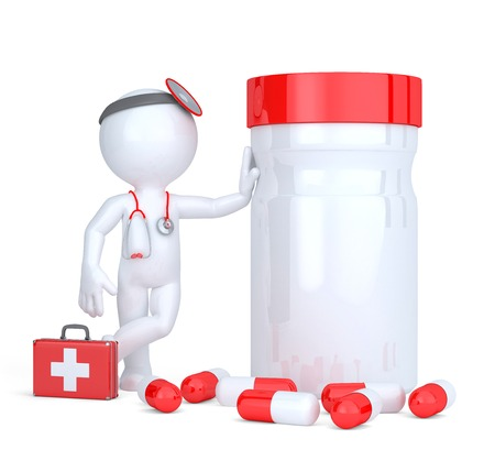 pill box: 3d medic with pill box. Isolated on white.