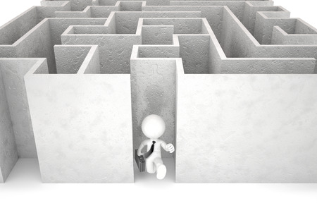 breakout: 3d businessman running out of maze. Businessconcept. Isolated.