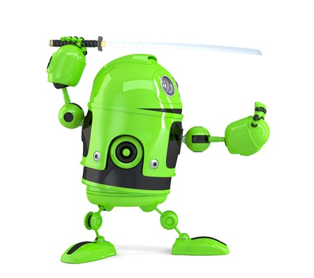 robot with shield: Cyber ninja. Technology concept. Isolated.  Stock Photo