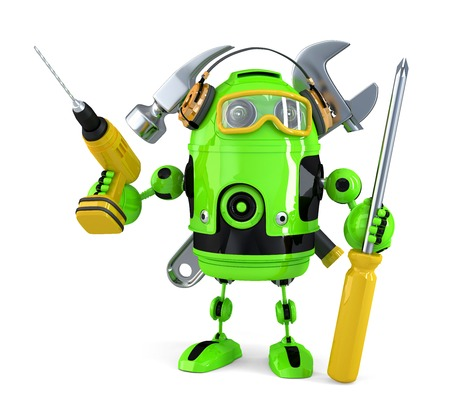 cute robot: Construction robot. Technology concept.Isolated.  Stock Photo
