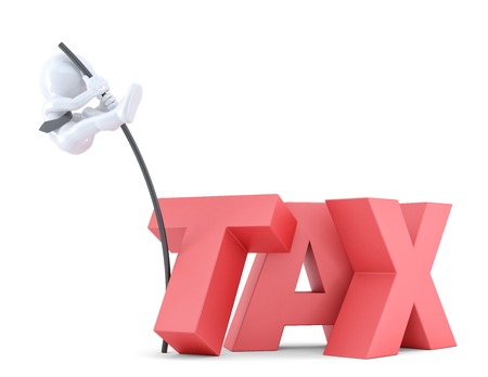 pole vault: Business men jumping over TAX sign using high pole. Isolated over white.