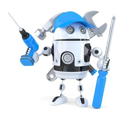 さまざまなツールを持つロボット。技術コンセプト。分離されました。クリッピング パスが含まれています 写真素材