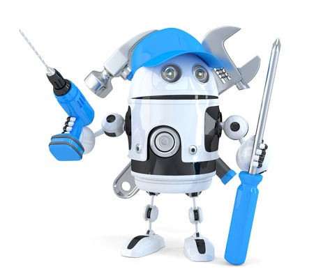 installer: Robot with various tools. Technology concept. Isolated. Contains clipping path Stock Photo