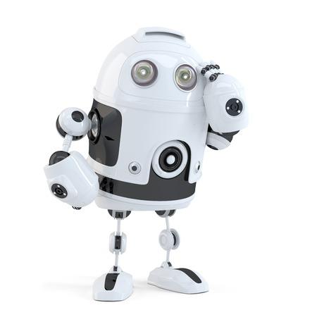 思いやりのあるハンサムなロボット。白い背景に分離されました。クリッピング パスが含まれています 写真素材