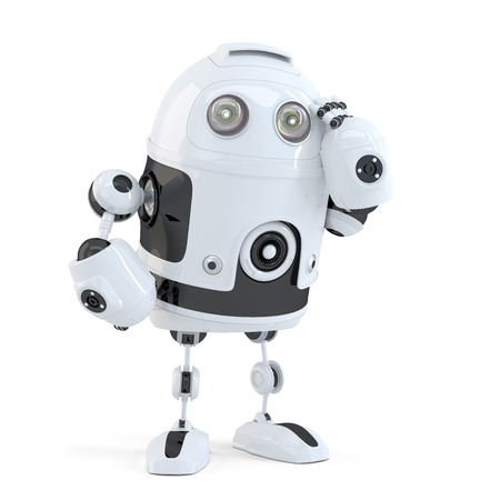 robot head: Thoughtful handsome robot. Isolated over white background. Contains clipping path Stock Photo