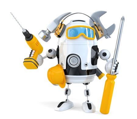ロボット - 産業労働者概念。白で隔離されました。
