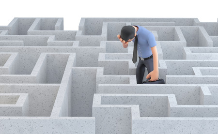 functionary: Depressed businessman standing in the middle of a maze. 3d illustration. Isolated.