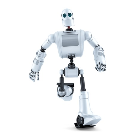 funny robot: Running robot. Isolated on white.