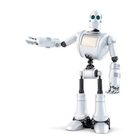 Robot presenting an invisible object. Isolated over white.