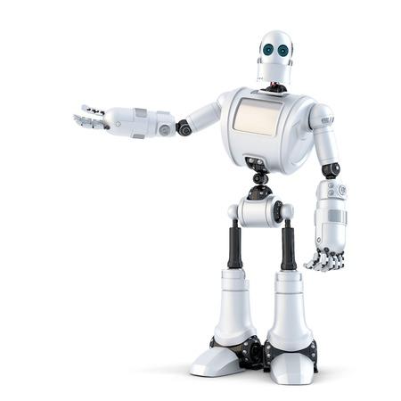 보이지 않는 객체를 제공하고 로봇. 화이트 이상입니다. 스톡 콘텐츠