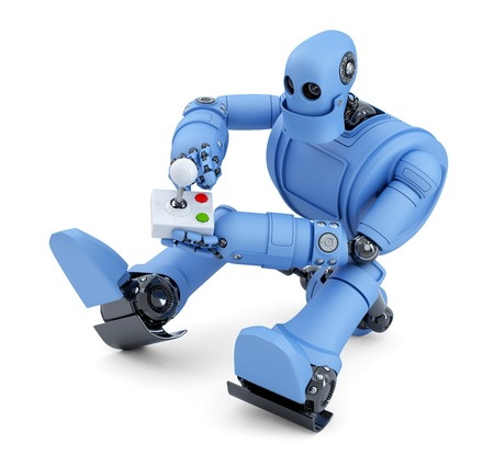 joy: Robot with joystick. Isolated on white.