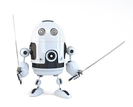Robot with Katana. Technology concept. Isolated over white.  Stock Photo