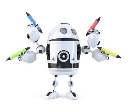Robot avec des crayons. Concept de multitâche. Isolé. Banque d'images