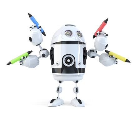 Robot with pencils. Multitasking concept. Isolated.