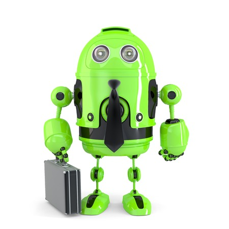 bot: Business robot. Technology concept. Isolated over white.
