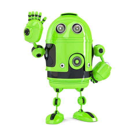 Green 3d Robot waving hello. Isolated over white.