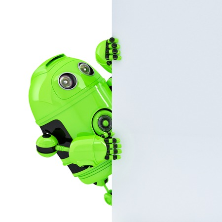 robot: Robot con un cartel en blanco con copyspace. Aislado en blanco.