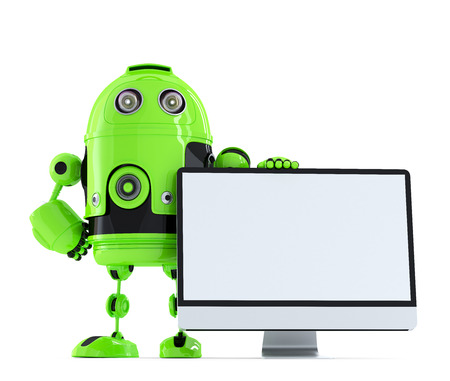 isolated over white: Robot with monitor. Isolated over white. Stock Photo